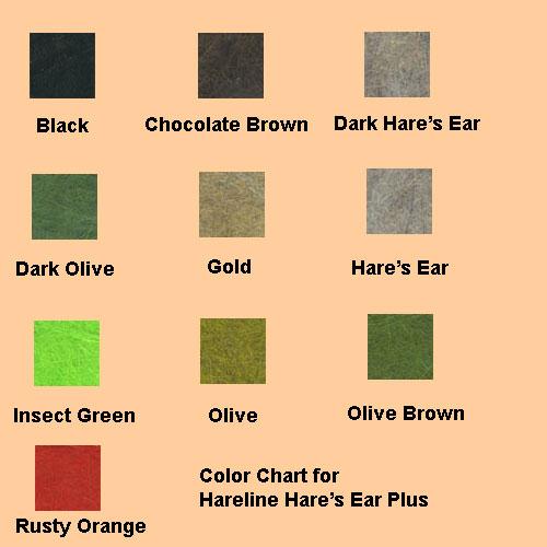 Color Chart Hareline Hare S Ear Plus