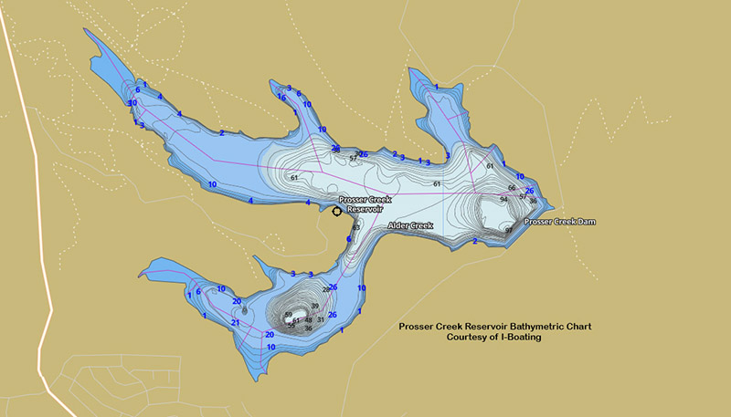 Prosser Creek Reservoir Bathymetric chart